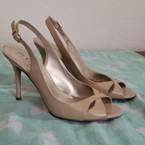 Guess by Marciano sling back nude heels